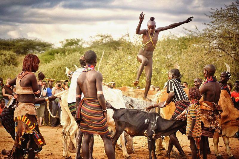 Ethiopia, bull jumping cerimony, Hamer tribe. Africa Ethiopia Hamer Hamertribe Bulljump