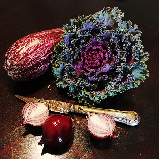 Aubergine Cabbage Food Knife Onion Red Cabbage Stillife Striped Abergine Vegatables Violet By Motorola Violet Compositio