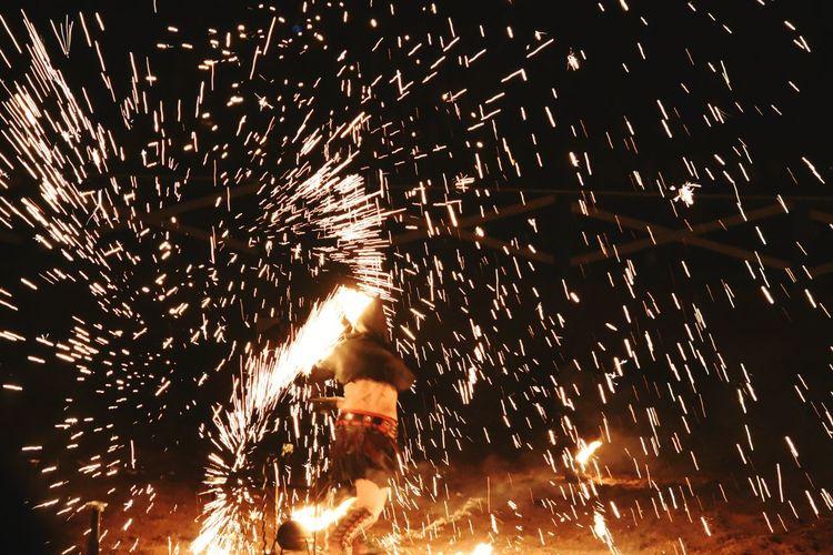 Texas Renaissance Festival Motion Celebration Night Exploding Heat - Temperature Dark Sparks Outdoors Burning Firework