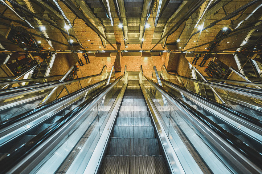 Architectural Feature Architecture Blue Diminishing Perspective Empty Escalator Future Futuristic Glasgow  Illuminated Interior Machine Machinery Modern No People Orange Repetition Staircase Stairs Stairways Technology Vanishing Point Wide Angle