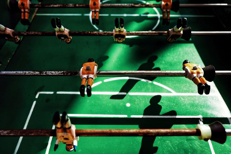 Close up of foosball