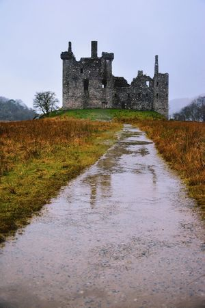 Built Structure Architecture Building Exterior Tree Outdoors History Tranquility Castle Grass Clear Sky Nature Water No People Day Puddle Fort Tranquil Scene Sky Scenics Fortress Vintage Highlands Castle Scotland Beauty In Nature