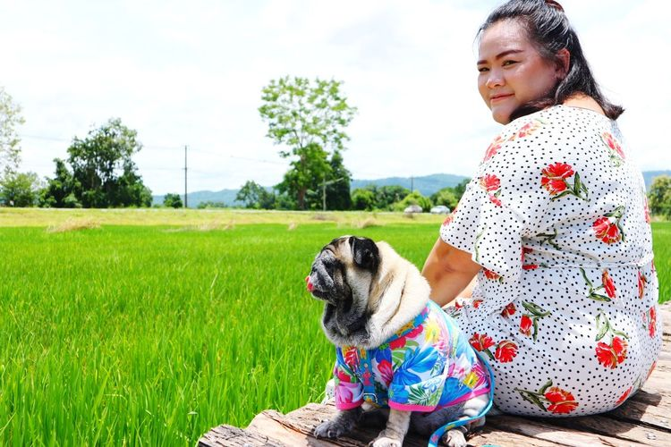 Portrait of woman with dog sitting on boardwalk by paddy field