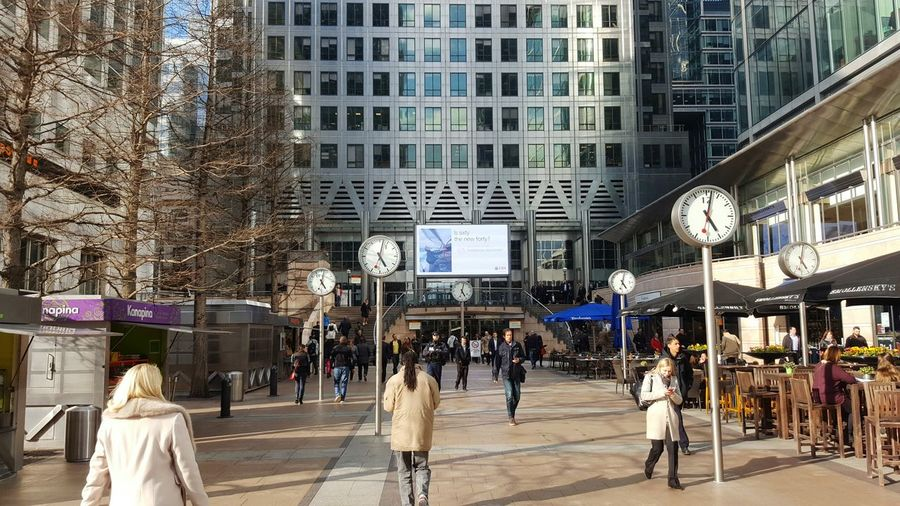 Lunchtime Rush Landscape People Canary Wharf London Canada Square Buildings Business Clocks