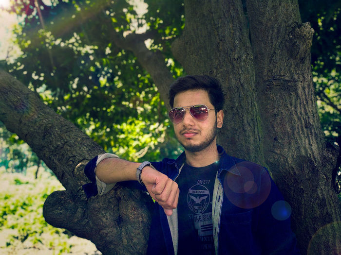 Portrait of young man wearing sunglasses on tree trunk