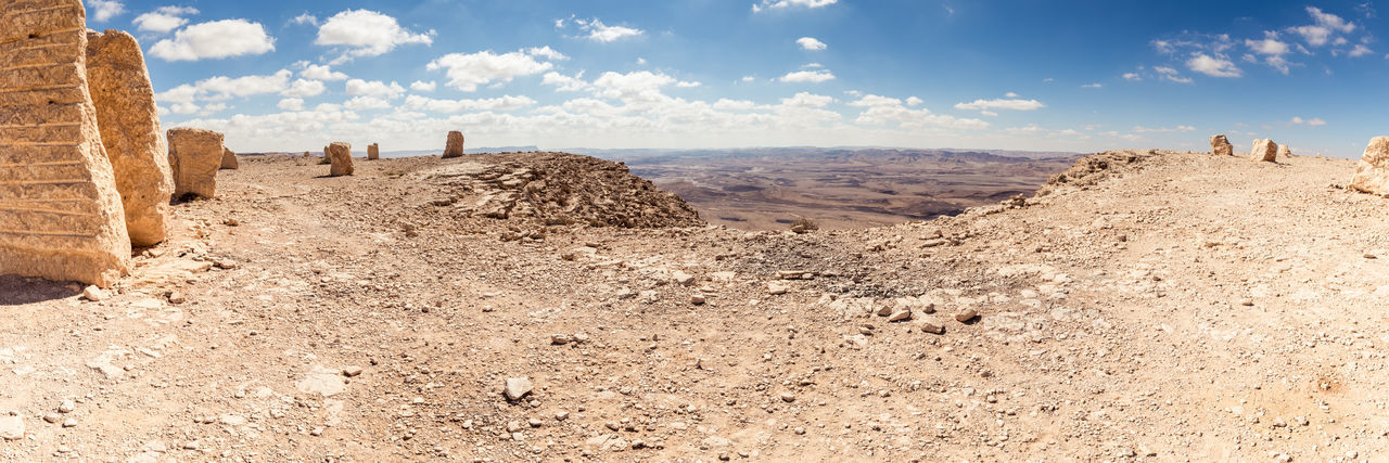 Large stone blocks chaotically standing in a park of stones in the Judean Desert near the city of Mitzpe Ramon in Israel Beautiful Nature Chaotically Heavy Nature Rock Skyline Standing View Background Blue Sky Cliff Cloud - Sky Day Hill Israel Judean Desert Landmark Landscape Large Stones Mitzpe Ramon Mountain Park Of Stones Scenics - Nature Tourism Destination Tranquil Scene