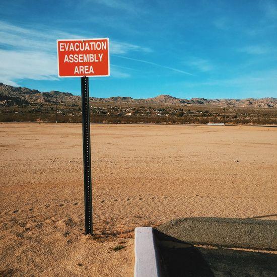 Evacuation Assembly Area Sign Signs Arid Climate Arid Landscape Desert Desert Beauty Other Desert Cities Joshua Tree