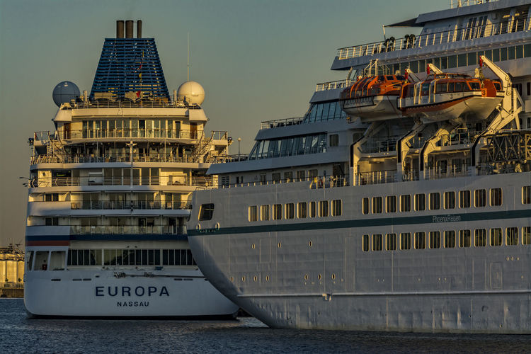 FallBehind Amadea Behind City Day Elbe River Hamburg Harbour Morning Light Morning Sun Ms Europa No People Ship Stern Sky Water