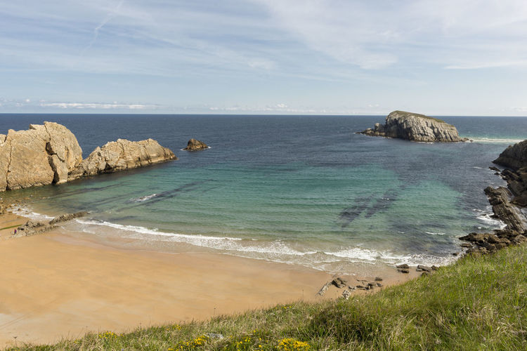Cantabria Arnia Beach Beauty In Nature Coast Day Grass High Angle View Horizon Over Water Landscape Nature No People Ocean Outdoors Rock - Object Scenics Sea Shore Sky Tranquil Scene Tranquility Water