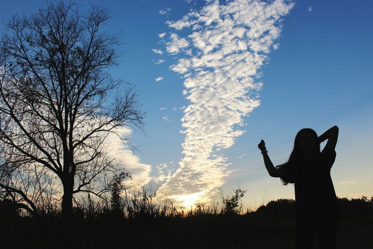The Sky is my way. Agriculture Cirrus Altostratus Medium Clouds Girl Cloud - Sky Shadow Shape Fan - Enthusiast Human Hand Men Silhouette Communication Sky Agricultural Field EyeEmNewHere A New Beginning