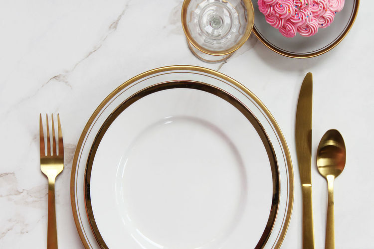 Eat Celebration Copy Space Dessert Dinner Dishware Elegant Food And Drink Holiday Modern Pink Table Setting Birthday Concept Cupcake Festive Glamour Gold Colored Luxury Marble Mock Up Party Place Setting Styled Table White