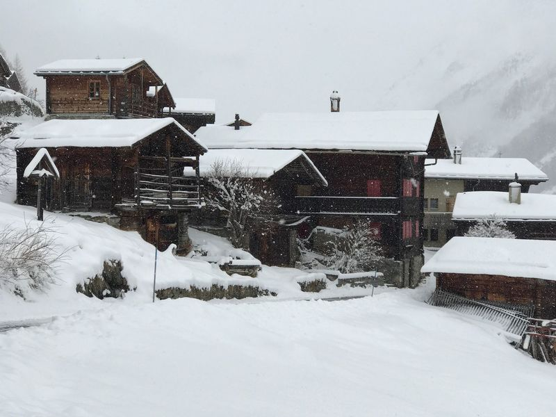 Winter Cold Temperature Building Exterior Built Structure No People Outdoors Residential Building Snowing Valais Lötschental Traditional Village