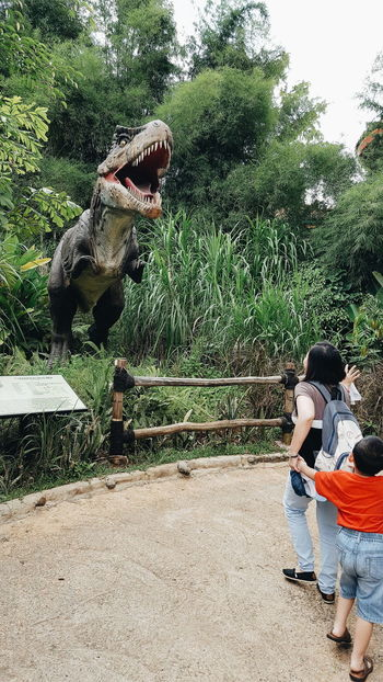 Tree Full Length Leisure Activity Day Casual Clothing Outdoors Green Color Nature Footpath Park Young Adult Zoology Reptile Dinosaur Archeology Prehistoric Jurassic Park Tyrannosaurus Rex TRex  T-rex People And Places