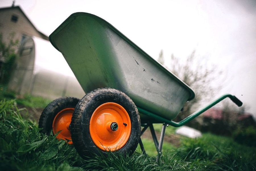 No People Field Nature Plant Grass Land Orange Color Day Outdoors Mode Of Transportation Wheelbarrow Gardening Equipment Close-up Sky Transportation Focus On Foreground Green Color Equipment Agriculture Growth