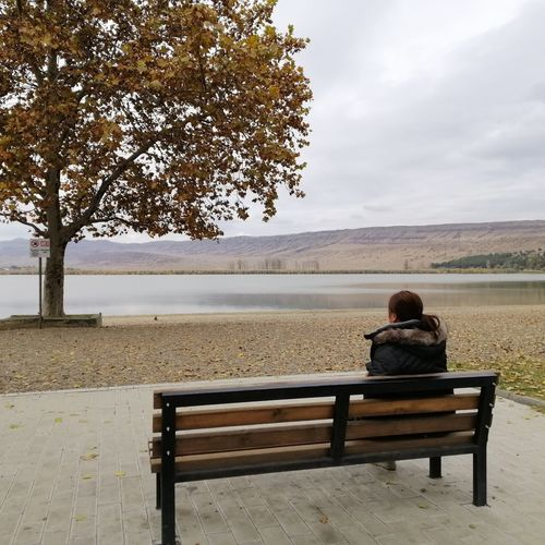 Rear view of woman sitting on bench against lake