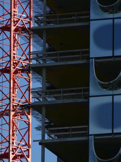 Architecture Building Crane Concrete Construction Construction Site Elbe River Engineering Floors Hamburg Light And Shadow Philharmonie Windows