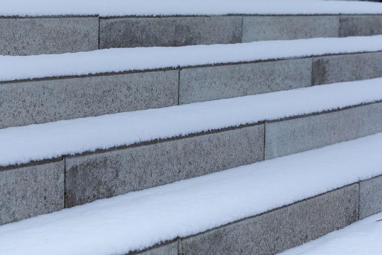 Full frame shot of snow covered staircase