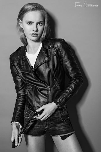 Paula Beautiful Woman Beauty Fashion Front View Hair Hairstyle Indoors  Jacket Jeans Leather Leather Jacket Lifestyles Long Hair Looking At Camera One Person Portrait Standing Teenager Three Quarter Length Women Young Adult Young Women