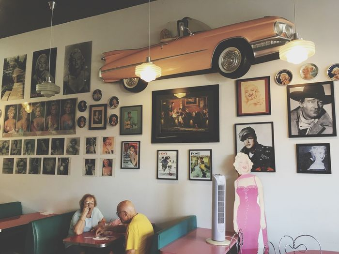 """""""Back in time"""" Edmonds Washington, USA 🇺🇸 Cafe Dinner Edmonds, Wa Washington State 50's  Corvette Marlyn Monroe Vintage Indoors  Picture Frame Human Representation Choice Wall - Building Feature Variation Frame Collection Art And Craft Table Female Likeness Arrangement Representation Home Interior"""