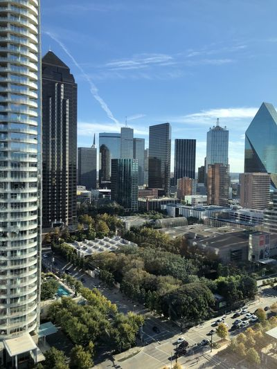 Downtown Dallas, Tx. High angle view of downtown Dallas financial district. Dallas Architecture Urban Skyline Urban Landscape Copy Space Business Finance And Industry Texas High Angle View Building Exterior Cityscape No People Skyscraper Tall - High Financial District  Tower Modern Tree Sunlight Development Business Technology Downtown District Prosperity Blue Sky Landscape