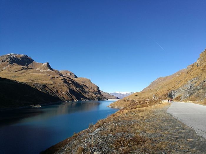 Lac de moiry against clear sky