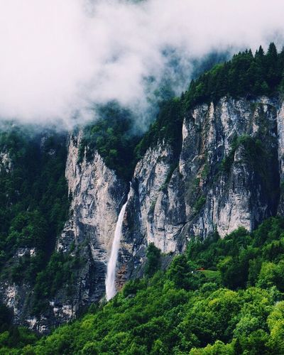 Rock Formation Tree Nature Rock - Object Waterfall Scenics Cliff Mountain Sky Tranquil Scene Beauty In Nature Green Color Travel Destinations Outdoors No People Day Water Tranquility Forest Power In Nature