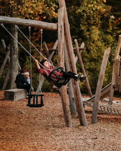 Tree Land Nature Forest Day Hanging Focus On Foreground Wood - Material Plant Outdoors Playground Protection Security Swing No People Safety Field Metal Animal Wildlife