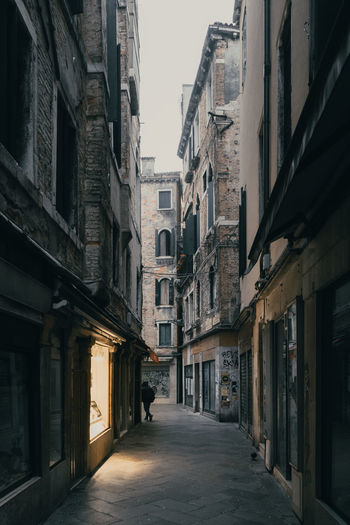 Empty alley amidst buildings