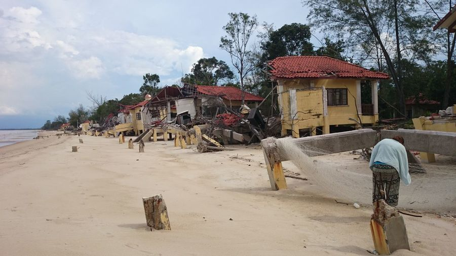 Destroyed hotel resort. Malaysia. Shoreline Destruction Emptiness Bloody Shame