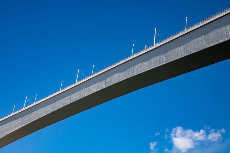 Sao-Joao new railroad-bridge over river Douro Architectural Column Architecture Blue Bridge Bridge - Man Made Structure Building Exterior Built Structure Clear Sky Concrete Connection Copy Space Day Engineering Low Angle View Multiple Lane Highway Nature Outdoors Overpass Road Sky Sunlight Transportation