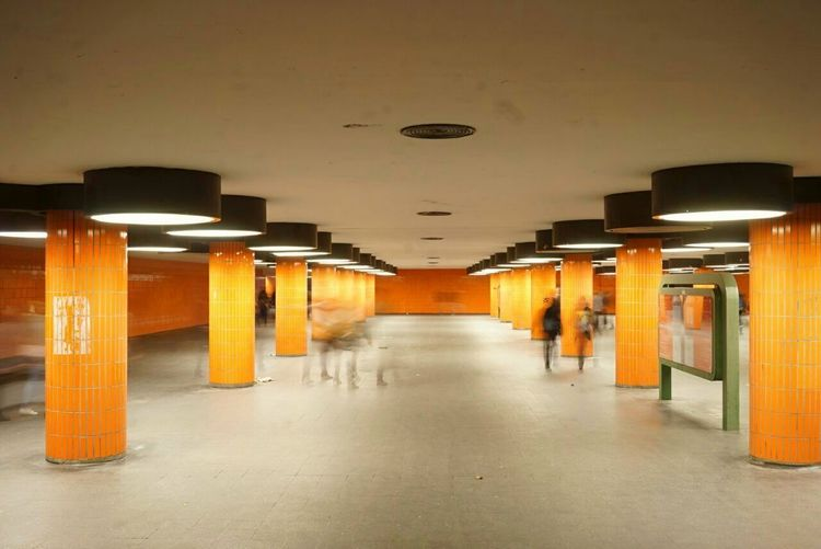 Architectural Column Architecture Built Structure Day Illuminated In A Row Indoors  No People Orange Color The Way Forward