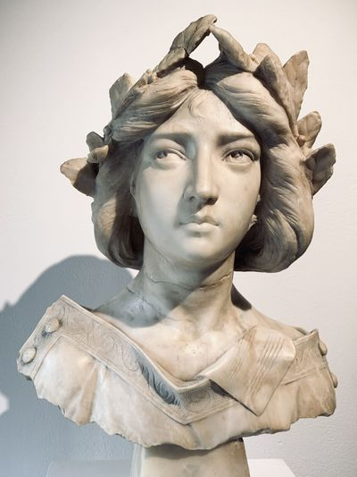 Close-up of statue against white background