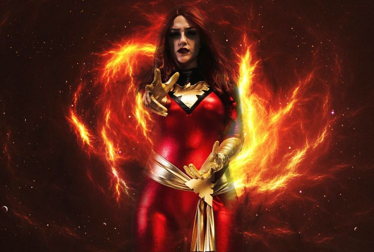 photoshop like a dumbass Fantasy Flame Red One Person One Woman Only Burning Explosive Cosplay Marvel Jeangrey DarkPhoenix Red Fire Cosmic