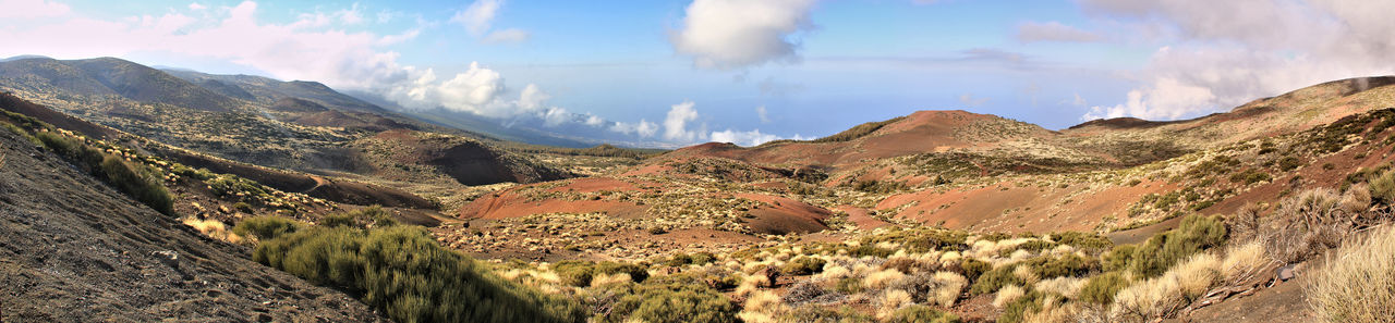 Beauty In Nature Canadas Del Teide Cloud - Sky Clouds And Sky Day Desert Landscape Mountain Mountain Range Multi Colored Nature No People Outdoors Panorama Panoramic Panoramic Photography Rural Scene Scenics Sky Teide National Park Tenerife Travel Destinations