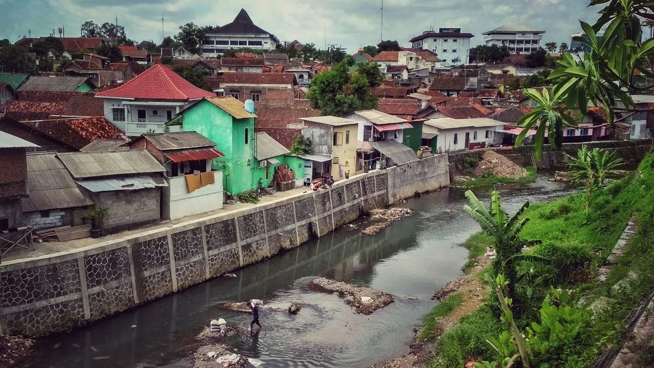 Architecture Building Exterior Built Structure Water Day House Outdoors High Angle View River Roof No People Residential Building Sky Yogyakarta,indonesia Yogyakarta Story City