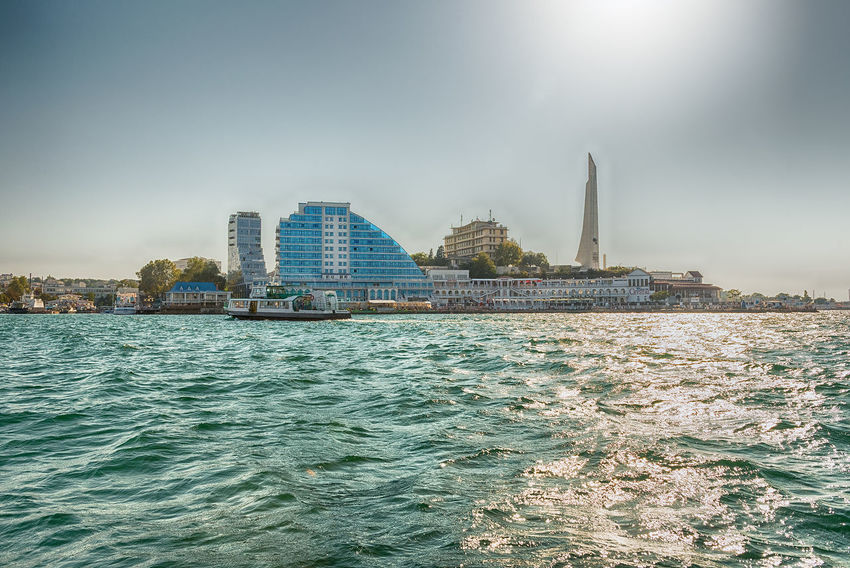 Scenic seafront and main buildings in Sevastopol, Crimea Architecture Building Building Exterior Built Structure City Day Motion Nature Nautical Vessel No People Office Building Exterior Outdoors Sea Sky Skyscraper Tourism Travel Travel Destinations Water Waterfront