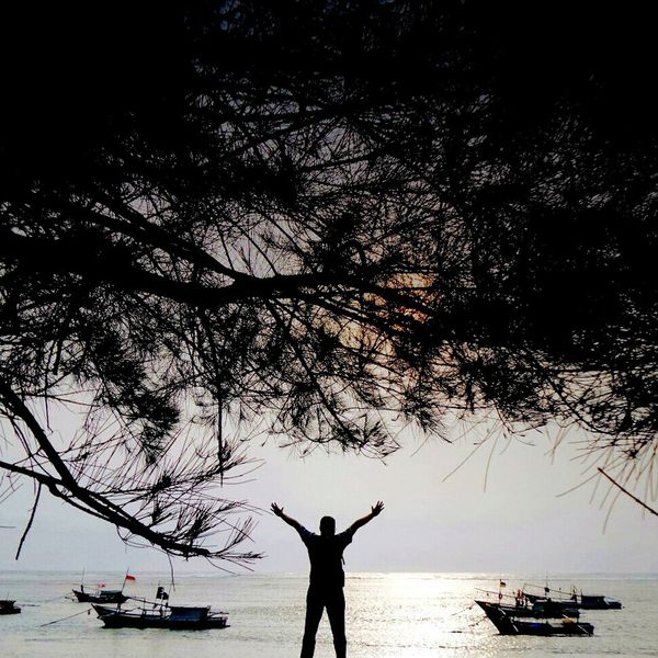 The Freedom Beach Photography Silhouette Traveling Natural Pantaipanjang Bengkulu Creative Light And Shadow Color Photography