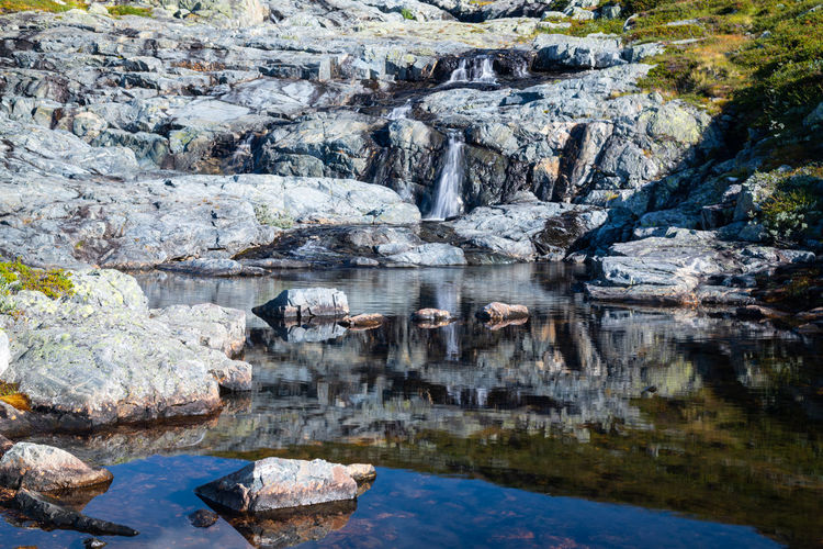 Reflection of rock formations in water