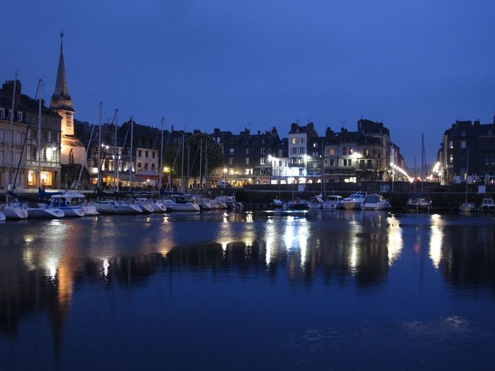 Honfleur at night Honfleur Architecture Blue Boat Building Exterior Built Structure Clear Sky Harbor Illuminated Mast Mode Of Transport Moored Nature Nautical Vessel Night No People Outdoors Reflection Sailboat Sky Transportation Travel Destinations Water Waterfront Yacht