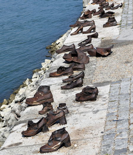 Art Budapest Danube Hungary Memorial Moving River Riverbank Riverbank, Danube Riverside Sculpture Shoes Shoes On The Danube Bank