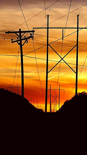 Sunset Silhouettes Sunsets Sunset Glow Sundown...♥ Nature Photography Skyporn Colorful Sky Power Lines Beautiful Nature Nature_perfection EyeEm Nature Lover Phoneography Enjoying The Sights Sunsetporn Showcase: November Sunset Silhouette