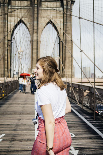 Brooklyn Bridge  Happy New York Woman Adult Beautiful Woman Bridge Day Lifestyles Real People Smiling Young Adult