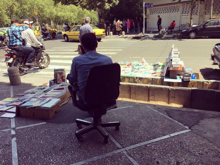 Book Streetphotography Seller Biker Car Teheran Sky Iran Street Photography