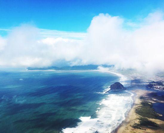 Morro Bay Rock Sky Flying United Airplane Ocean EyeEmNewHere