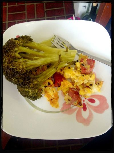 Dinner Broccoli Cooked Salami & Scrambled Eggs