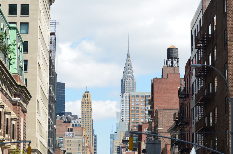 Low angle view of crysler buildings in new york city.