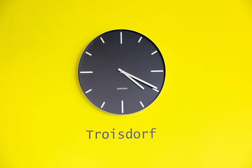 Time is clicking German Mail Service Clock On The Wall Clock On Wall Clocks Die Post  Time Time Is Running Out Time Is Up Troisdorf Watch Yellow Wall
