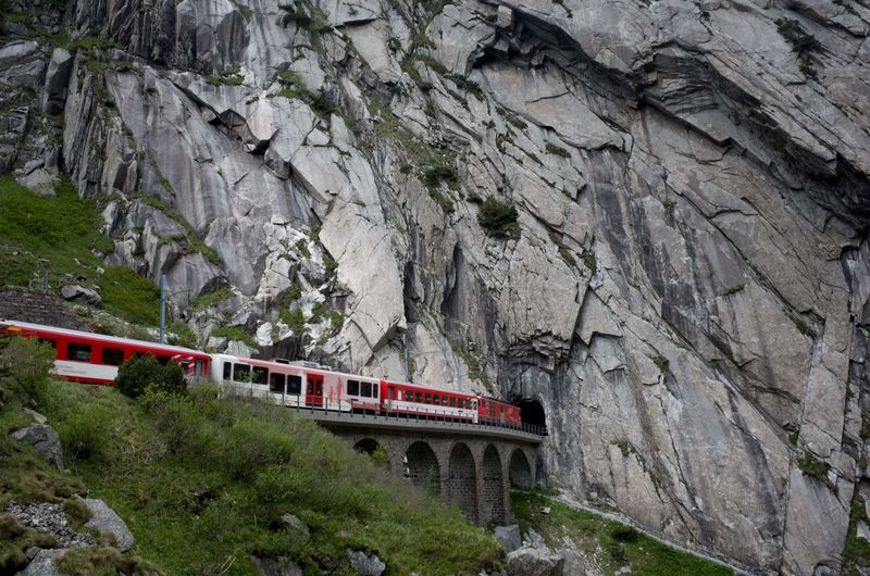 Train on rock formation
