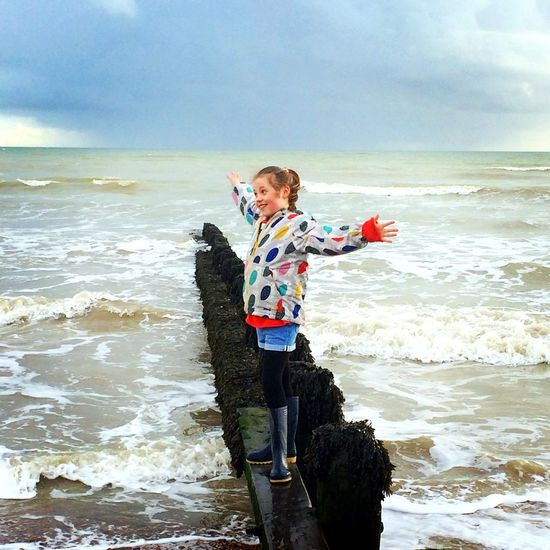 Happiness ❤ Sea Full Length Water Exploration Beach Sky One Person Standing Childhood Ferring Beach Westsussex Coast Horizon Over Water Leisure Activity Nature Wave Real People Outdoors Adventure Travel Destinations Beauty In Nature Scenics