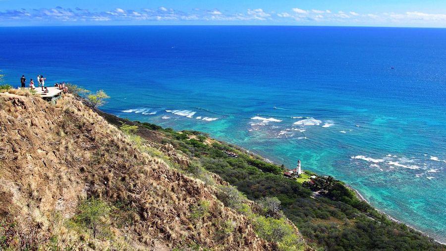 Diamondhead 🏝 Honolulu  Oahu Hawaii United States America USA Vacations High Angle View Sea Beauty In Nature Outdoors Landscape Hiking Hawaiishots Mountain Waves, Ocean, Nature Feeling Good Enjoying Life Travel Destinations Ocean View ダイヤモンドヘッド オアフ島 ハワイ アメリカ